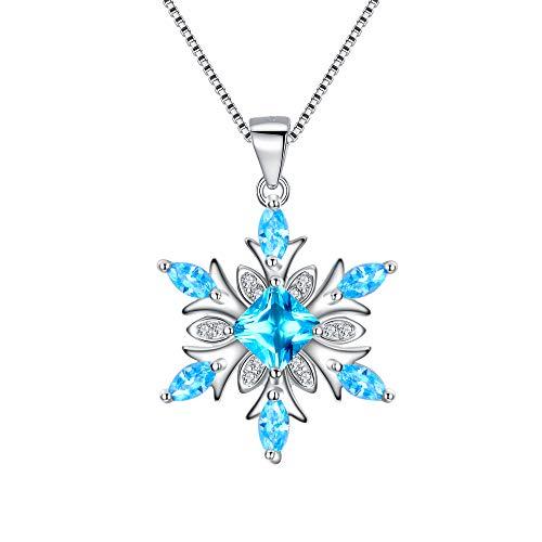 EVER FAITH Collana Donna 925 Argento zircone Gioielli invernali per le donne ragazza Fiore Di Fiocco Di Neve Collana con ciondolo Azzurro