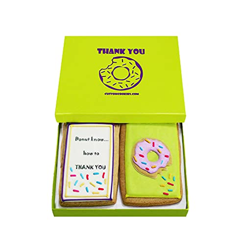 Gourmet Cookie Thank You Gift Set | 2 Delicious Large 2.5 x 4.5 in Vanilla Sugar Cookies Hand-Decorated With Royal Icing | Kosher Bakery Food Care Package For Men, Women, Kids | Prime Delivery