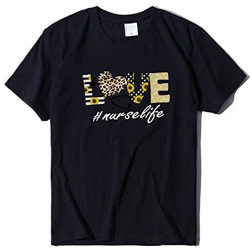HOSD Camiseta de Manga Corta Informal con Estampado de Leopardo y Cuello Redondo para Mujer, Camiseta Holgada de Gran tamaño para Mujer