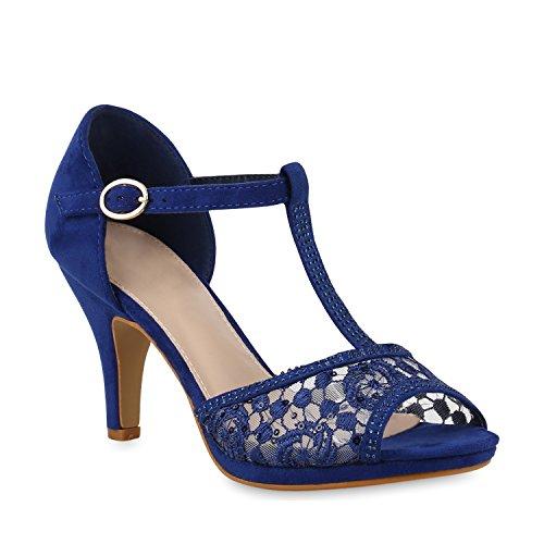 Damen Schuhe Sandaletten Riemchensandaletten Party High Heels Strass 153605 Blau Spitze 40 Flandell