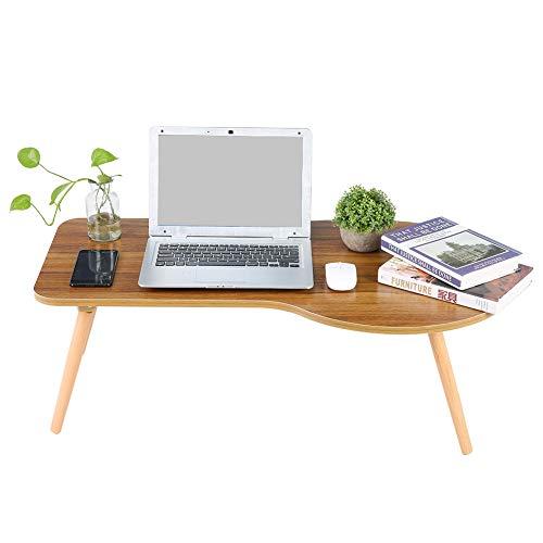 GOTOTOP - Escritorio de ordenador plegable y portátil, escritorio de cama de madera, 90 x 45 x 30 cm, mesa baja multifuncional para dormitorio y salón