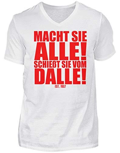 Macht Sie Alle Schießt Sie Vom Dalle - Würzburg Fußball Fan Spruch - Herren V-Neck Shirt -L-Weiß