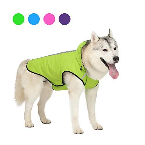 Aexit arnés para Perros Chubasquero para Perros Chubasquero para Perros Chaqueta Impermeable con Capucha Tira Reflectante Chubasquero Ropa para Mascotas Green_XL