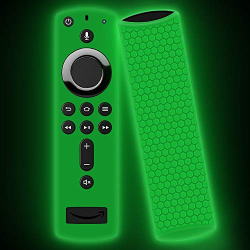 Remote Case/Cover/Sleeve for Fire TV Stick 4k/Fire TV Cube/Fire TV 3rd Gen, Silicone Case/Holder for New Alexa Voice Remote Streaming Media Player (Glowgreen)
