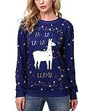 Women's Patterns Reindeer Snowman Tree Snowflakes Christmas Sweater Cardigan Blue White