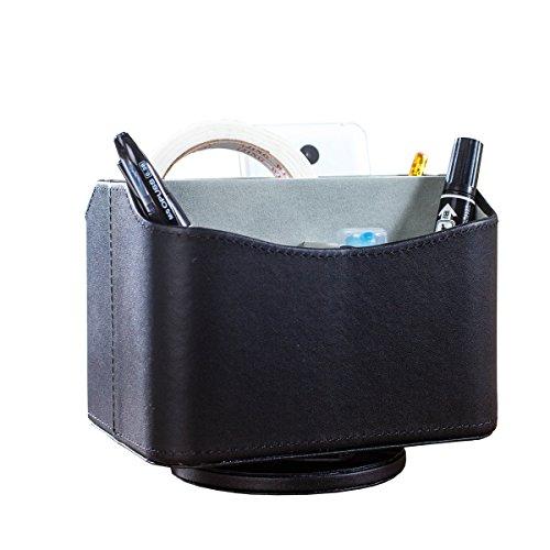 UnionBasic - Porta telecomandi in similpelle con base girevole a 360°, motivo a pelle di coccodrillo, utile anche per conservare guide TV, lettere e documenti da scrivania Pure Black