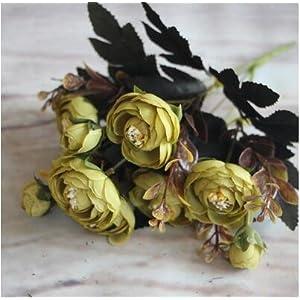 Artificial Flower Fake Peony Vivid 6 Head Autumn Home Room Bridal Hydrangea Decor,5