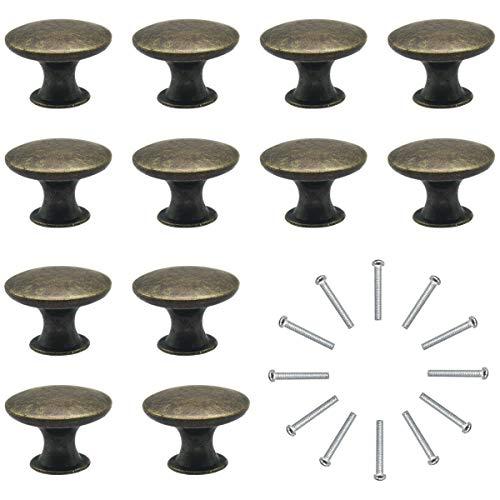 Natuce 12 Piezas Pomos y Tiradores de Muebles 30mm Vintage Bronce Pomos para Puertas/Armarios de Cocina/Cajones de Comodas Antiguos