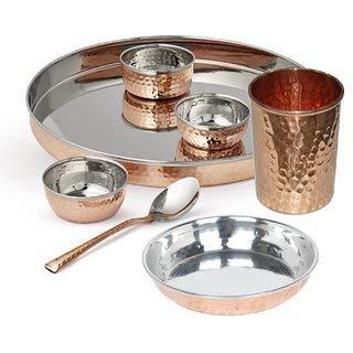TreegoArt Juego de vajilla de acero de cobre Thali, cuencos, plato halwa, cristal, cuchara, estilo tradicional, 7 piezas, diámetro de Thali 33 cm