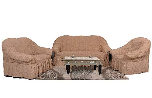 My Palace Stretch Sofabezüge 1er+2er+3er in ockerbraun Bone Cappuccino (Stretchhusse, Sofa-Husse, Sofabezug) / Sofabezug IKEA/sofabezuege 3 2 1 / sofabezug groß/Garnituren Cover