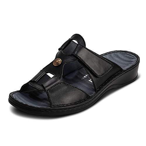 VITAFORM® Damen Pantolette Sandale Echt Nappaleder Mit Reflexzonenfußbett – Spezielle Dämpfung Zur Gelenkschonung (Schwarz, Numeric_40)