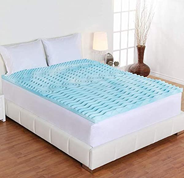 Authentic Cool Gel Memory Foam Mattress Topper 5 Zones Orthopedic Pad 2 Inch For Queen Size Bed