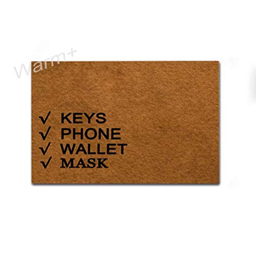 Warm+ Doormat Keys Phone Wallet Mask Door Mat with Rubber Backing Home Decor Indoor Mats for Entry Front Floor Mats 23.6 x 15.7 Inches