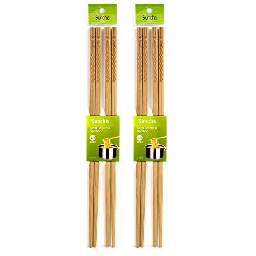 Suncha Bamboo Noodle Chopsticks - 12'/30cm Extra Long - Kitchen - Hot Pot - Cooking - Frying Chopsticks (4 Pairs)