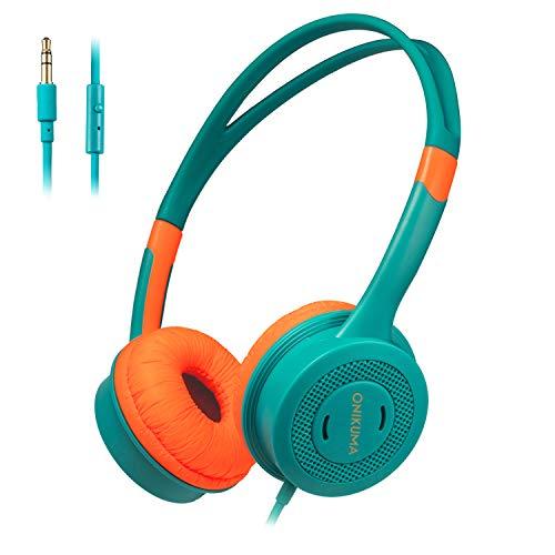 Cocoda Auriculares para Niños, Cascos con Microfono 85dB Volumen Limitado para Niño Niña, Livianos Sonido Estéreo sobre Oído Cable Auriculares Infantiles con Diadema Ajustable, Naranja/Verde