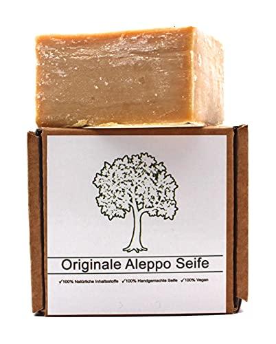 Original Aleppo Seife, 90% Olivenöl 10% Lorbeeröl, ca.150g, Handmade, Vegan, Naturprodukt, Haarseife, Duschseife, Original Rezeptur