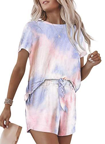 Onsoyours Mujer Pijamas Verano Corto Conjunto Dos Piezas Verano Tie