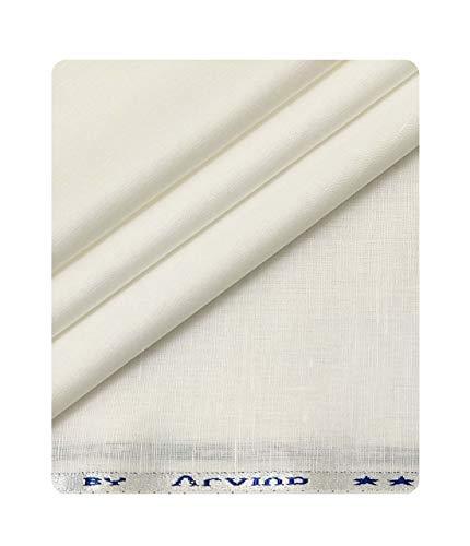 Arvind Men's Cotton Linen Self Design Unstitched Shirt Fabric (White)