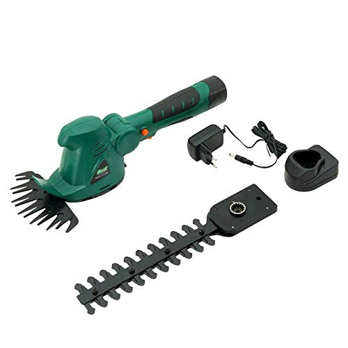 Syczdllj 10.8 voltios de iones de litio sin cable podadora de césped y desbrozadora de recorte, 2-en-1 eléctrico de la mano Held podadora de césped cortasetos arbustos Clipper, 2 Ah batería y el carga