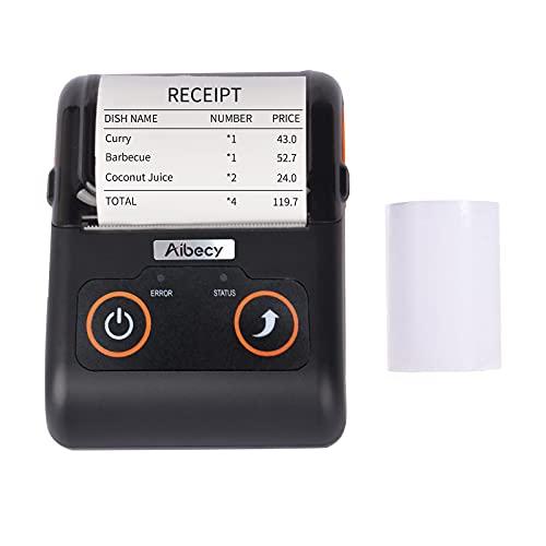 Aibecy Impresora de recibos portátil Impresora térmica de 58 mm Impresora de punto de venta móvil Conexión USB BT Soporte de comando ESC/POS Compatible con Windows Android iOS