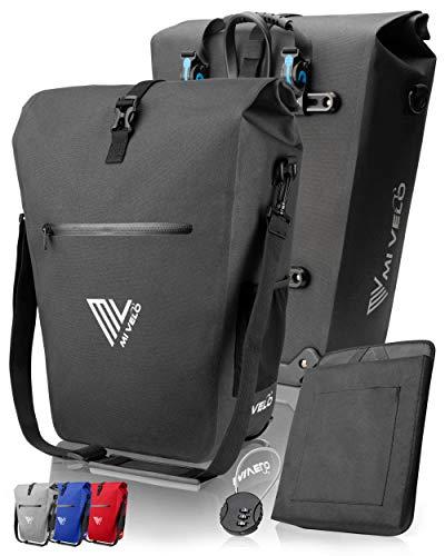 MIVELO Fahrradtasche Gepäckträgertasche wasserdicht 100% PVC frei + Laptopfach + Schloss + Schultergurt – Fahrrad Tasche für Gepäckträger 1 STK schwarz