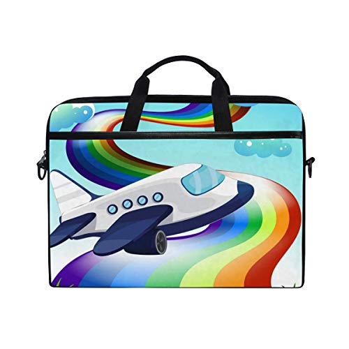 Laptop Sleeve Case,Laptop Bag,Cartoon Jetplane with Rainbow Water Briefcase Messenger Notebook Computer Bag with Shoulder Strap Handle,29×40 CM/15.6 Inch