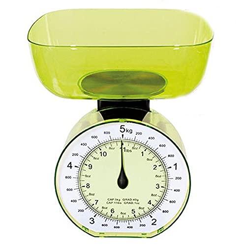 cosedacasa Bilancia Meccanica da Cucina Arancio Verde Azzurra per pesare cibi pietanze Alimenti Farina Portata Fino 5kg in plastica-Azzurro