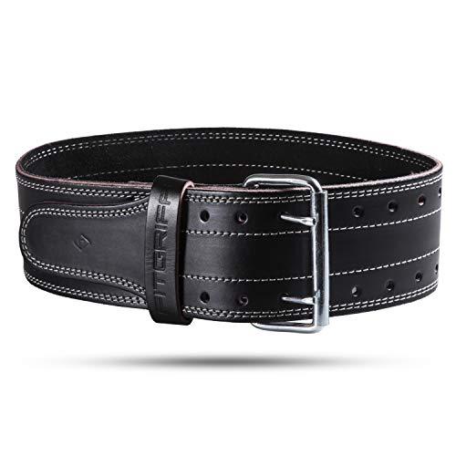 Fitgriff® Cintura Palestra Powerlifting Pelle - Uomo & Donna - per Bodybuilding, Sollevamento Pesi, Allenamento, Zavorra, Fitness, Gym - Leather Weightlifting Belt (Black, L)