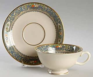 Lenox Autumn (Newer,Gold Backstamp) Footed Cup & Saucer Set, Fine China Dinnerware