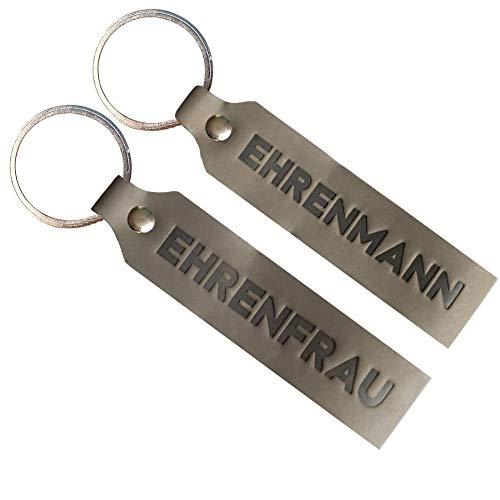 Ankerpunkt Llavero de piel con grabado de marido y mujer honorable, regalo para parejas, regalo de boda, regalo para invitados, fabricado en Alemania (gris)