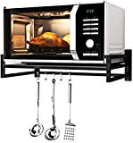 MILAD™ Metal Wall-Mounted Microwave Oven Rack, Kitchen Storage Rack, Multi-Function Oven Rack with Hook (62 L x 45 W x 18 H in CM's, OS-10, Black Color)