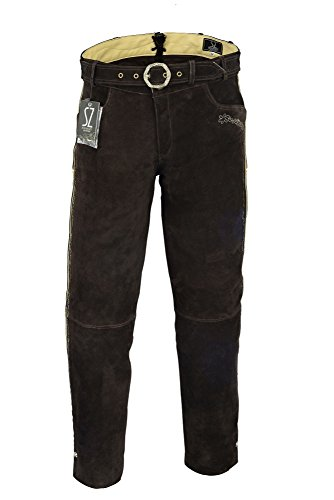 Shamzee klederdracht lederen broek lang inclusief riem van echt leer in bruine kleur
