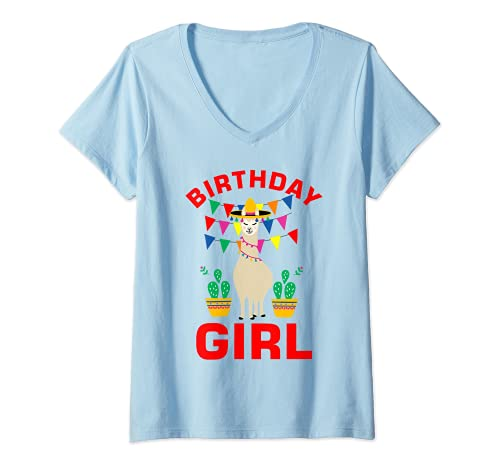 Mujer Cumpleaños niña Llama Cactus Alpaca Lindo regalo divertido para niñas Camiseta Cuello V