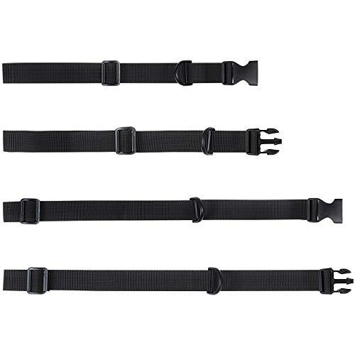 LIHAO 4X Brustgurt für Rucksack Schulranzen verstellbar abnehmbar schwarz 2,5 cm * 50/80 cm (Verpackung MEHRWEG)
