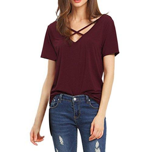 Camisas de Mujer Manga Corta, Camiseta de Blusa con Cuello en V Floja de Manga Corta para Mujer(XL,Vino)