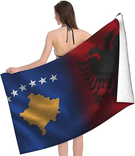 Mikrofaser-Strandtücher, super saugfähige Strand- & Badetücher, schnell trocknendes Strandtuch, übergroßes Strandtuch,Kosovo & albanische Flagge,32x52inch