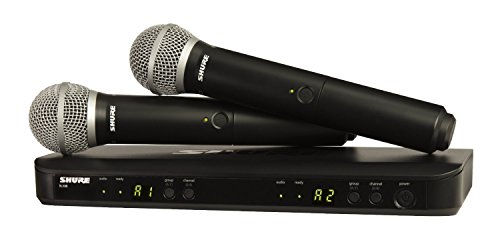 Shure BLX288/PG58 Wireless Microphone System for Two Performers with BLX88 Dual Channel Receiver and Two BLX2 Handheld Transmitters with PG58 Mic Capsules for Lead and Backup Vocal Applications