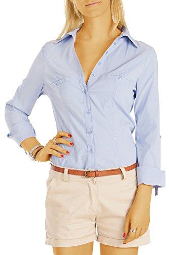 bestyledberlin Damen Blusen, Taillierte Stretch Hemden, Oberteile gestreift t66z42/XL hellblau