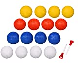 Adwikoso 4 Colors 24 Pcs Practice Golf Balls Foam Soft Elastic Golf Balls, Indoor Putting Green Outdoor Golf Training Aid Balls with 2 Golf Ball Tees