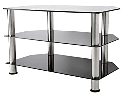 Simple and stylish TV stand For TVs up to 40 inch Max TV Weight 40kg Chrome legs compliment black glass Dimensions (mm): W800 x H500 x D420