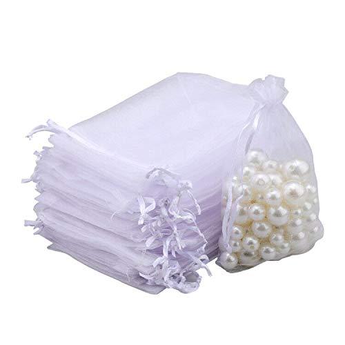 G2PLUS 100PCS Sacs Organza,Sachets Pochettes Cadeau en Organza Sac à Bijoux,Sachets pour Lavande Idéales pour Bijoux Cadeaux Bonbons Marriage-7x9cm Blanc