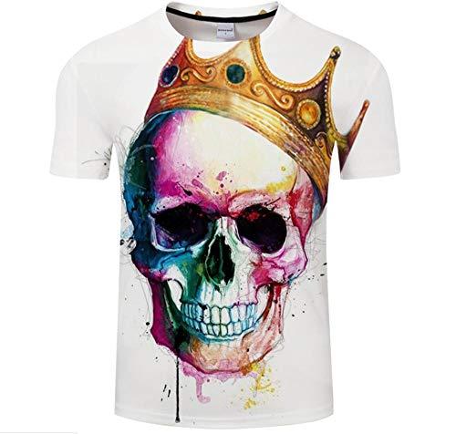 Skull Wearing A Crown Camiseta Unisex De Verano con Estampado 3D Top Casual De Cuello Redondo Y Manga Corta