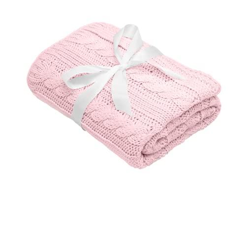Mikos * Manta para bebé   Manta de punto   Ideal como manta de primeros pasos   Manta para cochecito   Manta para bebé con patrón trenzado Öko-Tex   100 x 90 cm (1003) (rosa claro)