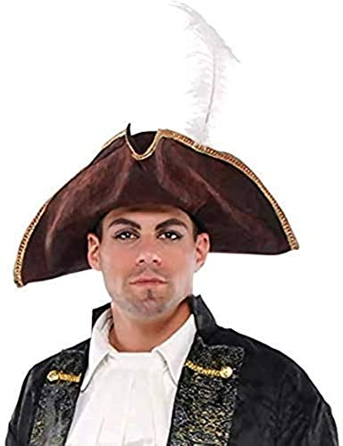 AMSCAN Brown Tricorn Pirate Hat Halloween Costume Accessories, One Size