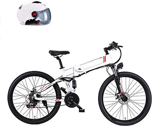 Fangfang Bicicletta Elettrica, 350W Mountain Bike, con Rimovibile 48V 8AH   10AH agli ioni di Litio E-Bike 26  Bicicletta elettrica for Adulti 21 velocità Gears,Bicicletta (Color : White, Size : 8AH)