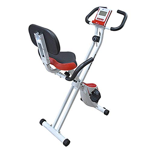 NFJ Bicicleta Estática, Plegable Bicicleta De Ejercicio Vertical,Entrenamiento Fitness Cardio Trainer con Respaldo Carga Máxima 120 Kg,White