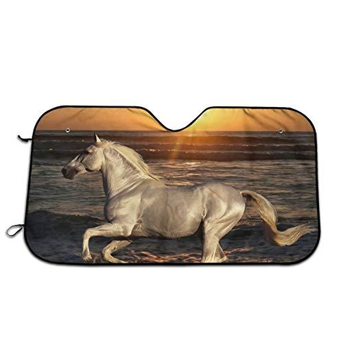 Xhayo Sombrilla blanca para parabrisas de coche, diseño de caballo, color blanco