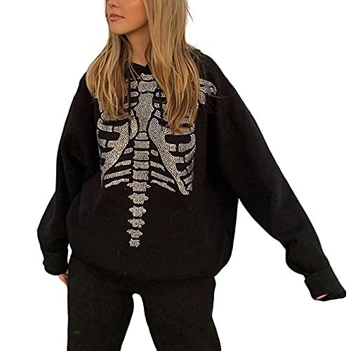 Mujeres Esqueleto Rhinestone impresión manga larga sudadera con capucha Casual con capucha suelta sudadera Tops, Negro, S
