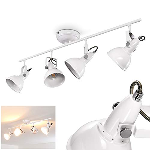 Plafondlamp Tina, verstelbare metalen plafondlamp in wit, 4 vlammen, lampenkap draaibaar en kantelbaar, 4 x E14 stopcontact, max. 40 Watt, spot in retrodesign, geschikt voor LED-lampen
