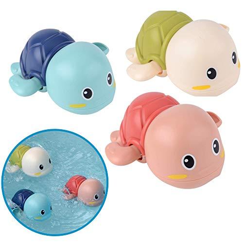 Badewannenspielzeug Schildkröten, 3er Set BPA frei und Schadstoff-frei zertifiziert, Mechanik zum Aufziehen, schwimmen bis 15s, ab 6 Monaten, Schimmel-frei, übt Feinmotorik + Greifkraft, Badespielzeug